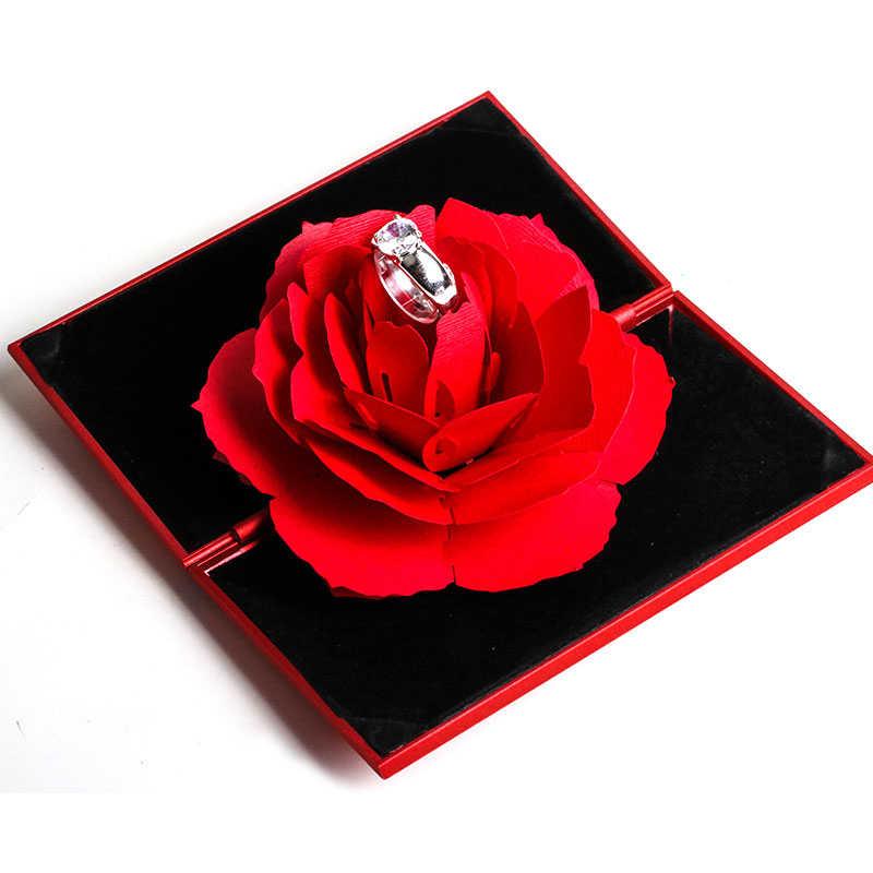 3D модные элегантные кольца, радостная красная коробка, Свадебный помолвочный чехол, цветок розы, подарок для любви, ювелирный дисплей, держатель для хранения