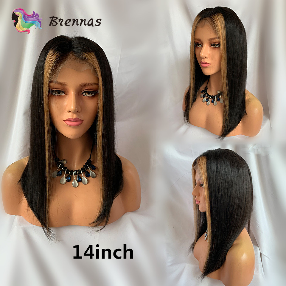 Ombre straight short bob lace front wig #27 honey blonde highlight natural black color Brazilian human Remy hair for Black Women