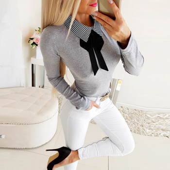 Polka Dot Women Shirt Turn Dow Collar Bow Knot Blouse And Tops Lady White Shirt Knitted Slim Fit Blusas Female Solid Camisa D30 knot side polka dot peplum top