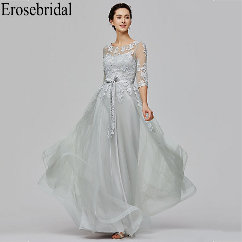 Erosebridal Long Elegant   Evening     Dress   Party Grey Formal   Dresses     Evening   Gowns with Lace Up Back robe soiree