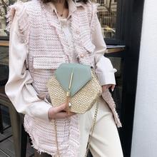 Новая мода Шестигранная солома+ PU кожаные сумки женские летние Ротанговые городской Бег сумка ручной работы тканая пляжная feminina сумка