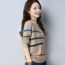 Women knitting sweater long sleeves curled O-neck collar female Short Casual Sol