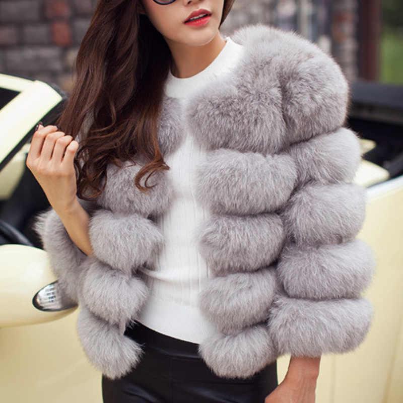 Femmes fausse fourrure manteau automne hiver 2019 mode décontracté chaud manteau grande taille Faux renard fourrure pardessus veste femme manches longues