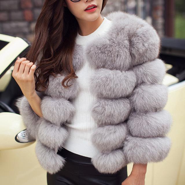 Women Faux Fur Coat Autumn Winter 2019 Fashion Casual Warm Coat Plus Size Faux Fox Fur Overcoat Jacket Female Long Sleeves