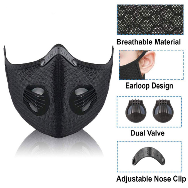 POWECOM Mouth Mask PM2.5 Filter Windproof with Breathable Valve Mouth-muffle Anti-foga Dustproof Flu Reusable Cycling Face Mask 1