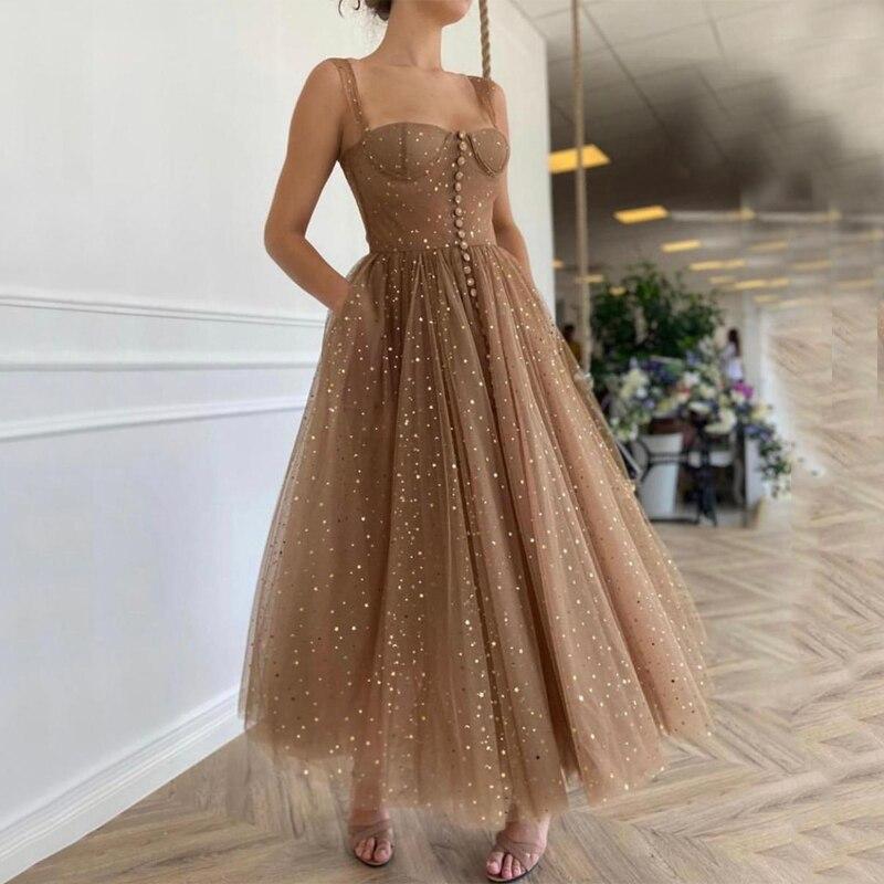 Sleeveless Spaghetti-trägern Schatz Perlen Pailletten Split Tüll A-linie Prom Kleider Formale Abendkleid vestido formatura