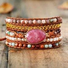 Premium designer pulseira de couro rhodonite mix chain 5 fios tecido envoltório pulseiras boêmio charme pulseiras dropship