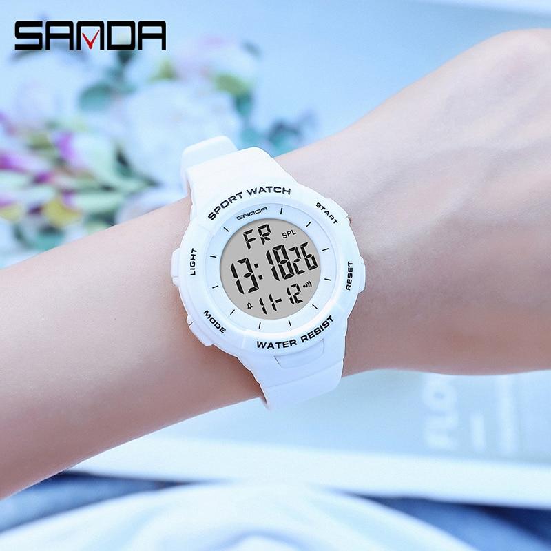 Montres électroniques pour femmes, Bracelet à la mode, chronomètre pour filles, de marque SANDA, horloge antichoc 3