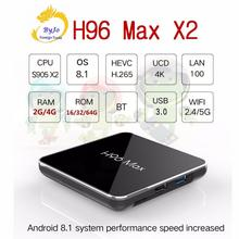 H96 Max X2 4K boîte 2.4G 5GHz Wifi Bluetooth décodeur S905X2 Android 8.1 Android tv box 2G ou 4G DDR4 16G 32G 64G