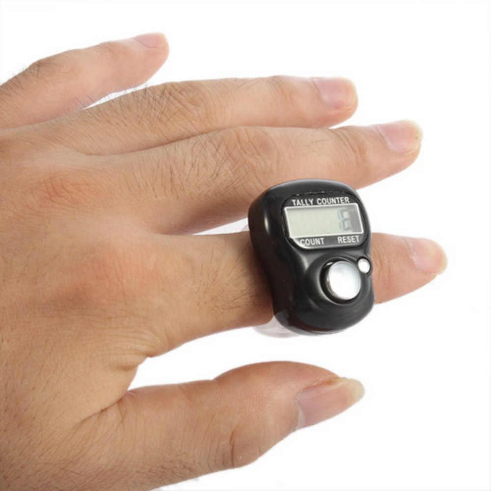 1 قطعة الاصبع عداد مسجل إصبع الفرس البسيطة 5 أرقام LCD الرقمية الالكترونية جولف الرياضة باليد الدائري عداد مسجل
