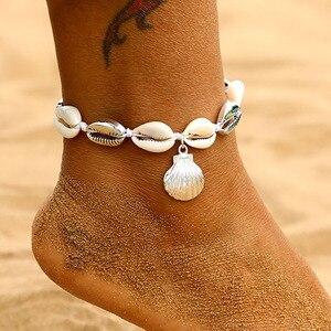 EN богемный натуральный раковины ножной шнур-браслет для женщин ноги ювелирные изделия Лето Пляж босиком браслет лодыжки на ноге для женщин