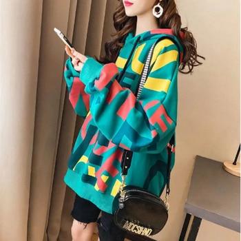 QRWR Korean Women Hoodie Sweatshirts 2020 Winter Casual Fleece Oversized Hoodies Loose Letter Printing Thicken Hoodies for Girls 6