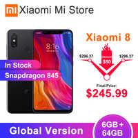 "In Stock Global Version Xiaomi Mi8 MI 8 6GB 64GB Snapdragon 845 6.21"" AMOLED Screen 20MP front camera IR face unlock Support NFC"