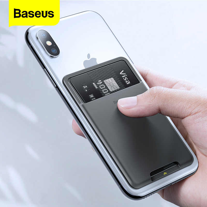 <font><b>Baseus</b></font> Universal Phone Back Slot Card Wallet Case For <font><b>iPhone</b></font> X Xs Luxury 3M Sticker Silicone Phone Pouch Case For Samsung Xiaomi image