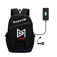 SuperM Kpop Super M Backpack Student School Bag Laptop Travel Bags Teenage Notebook Backpacks With USB Charging Port Women