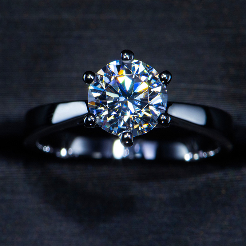 Luxury Female Solitaire Lab Diamond Ring Real 925 Sterling Silver Engagement Ring Vintage Wedding Rings For Women