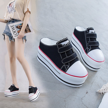 Casual Shoes Female Magic Paste Canvas Shoes Inside Increase 9cm Muffin With Half Drag Cowboy Cloth Women's Singles Shoes