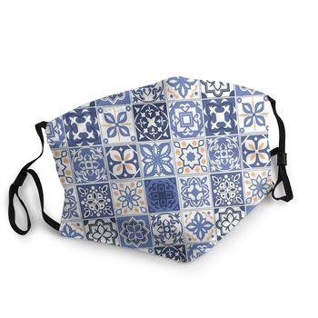 Blue Portuguese Tile Non-Disposable Face Mask Anti Haze Dust Protection Cover Respirator