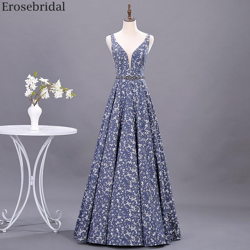 Erosebridal Elegant Floarl Print A Line Prom Dress 2020 Sexy Open Back Long Evening Dress V Neck Beads Belt Party Gown