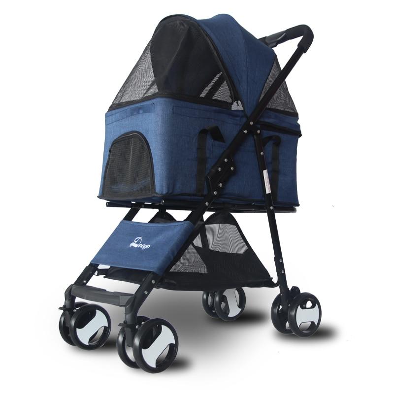 Pet Stroller Light Folding Cart Cat Dog Teddy Nest Basket Outdoor Travel Supplies