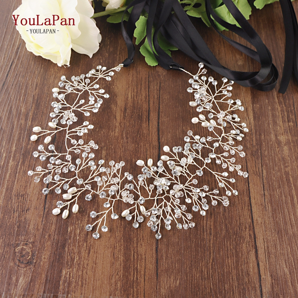 Купить с кэшбэком YouLaPan SH10-G golden wedding belt Pearls crystal belt Handmade rhinestone belt for Wedding Accessories Golden Bridal Sash belt