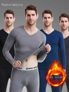 Thermal-Underwear-Sets Trousers Russian Two-Piece Men Winter New Warm Canada V-Neck Thicken