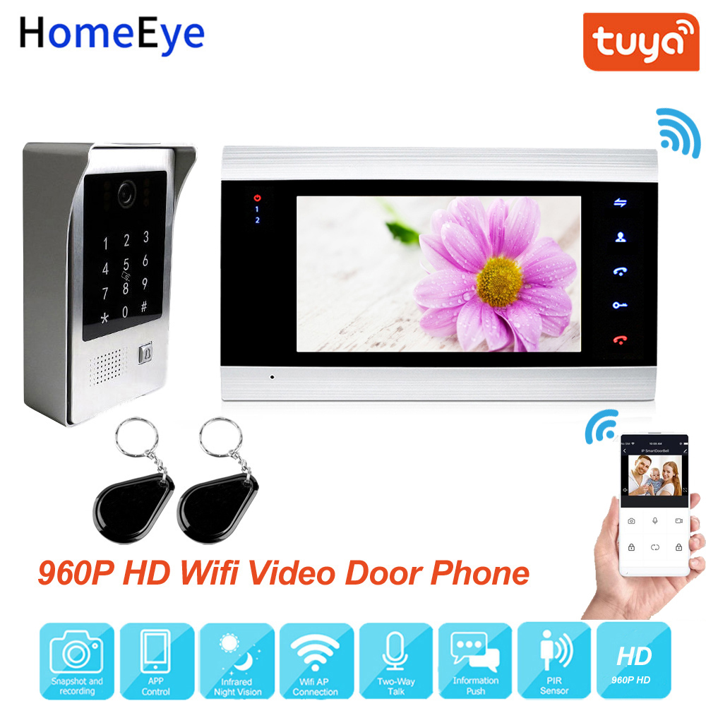 Tuya Smart Life App WiFi IP Video Door Phone Video Intercom Code Keypad/RFID Card/APP Unlock Motion Detection Access Control