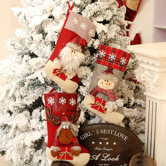 Christmas Decoration Christmas Socks Ornaments Pendant Small Boots Children New Year Candy Bag Gift Fireplace Tree Jewelry 4