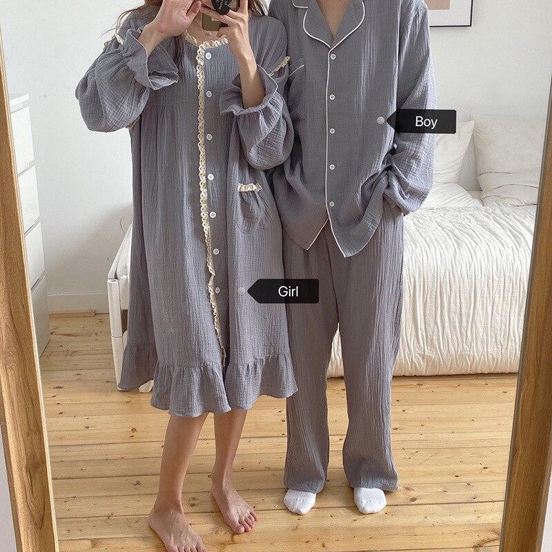 Новые осенние свободные однотонные Цвет пара пижамы с круглым вырезом на пуговицах; Верхняя одежда домой с длинным рукавом пара домашняя пи...