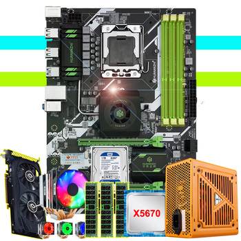 HUANANZHI X58 deluxe motherboard 1TB HDD 500W PSU Xeon CPU X5670 with 6 heatpipes cooler RAM 24G(3*8G) RECC video card GTX750TI