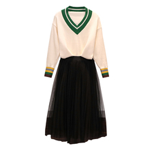Big Yards L -4xl Couture Autumn Outfit New Two-Piece Woman V Neck Pullover Sweater Black Pleated Skirt Knitted Suits Vestido