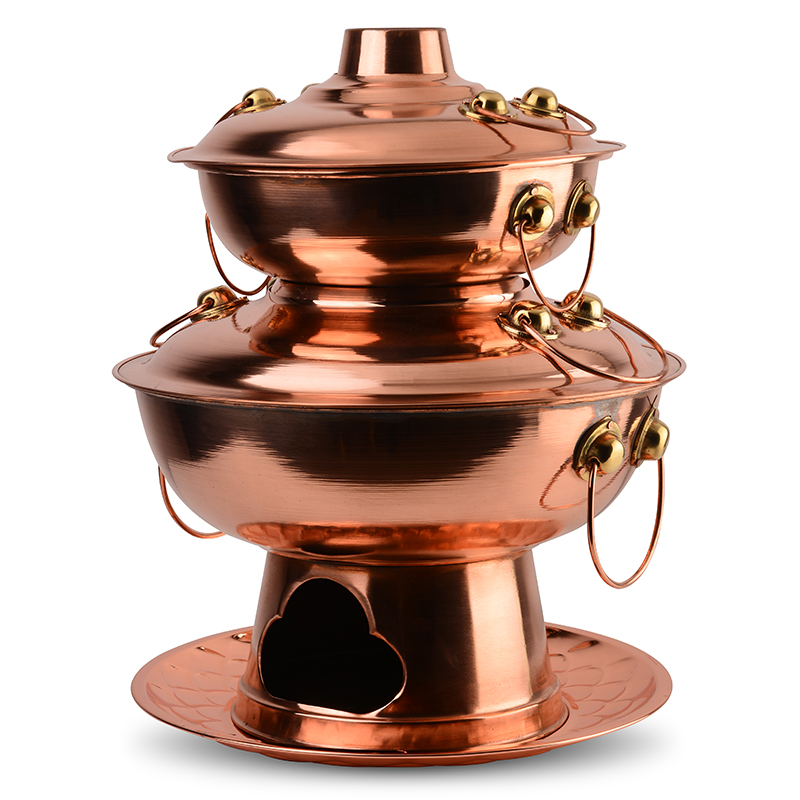 Two double-layer pagoda copper pot bullfrog pure copper charcoal copper hot pot chicken Lafayette charcoal fire frog pot special