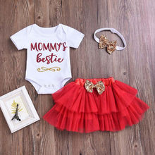 Letter Short Sleeve Cotton Romper Bodysuit Tulle Skirt Headband Suit Newborn Baby Girl Clothes Winter Toddler Girls Clothing Set(China)