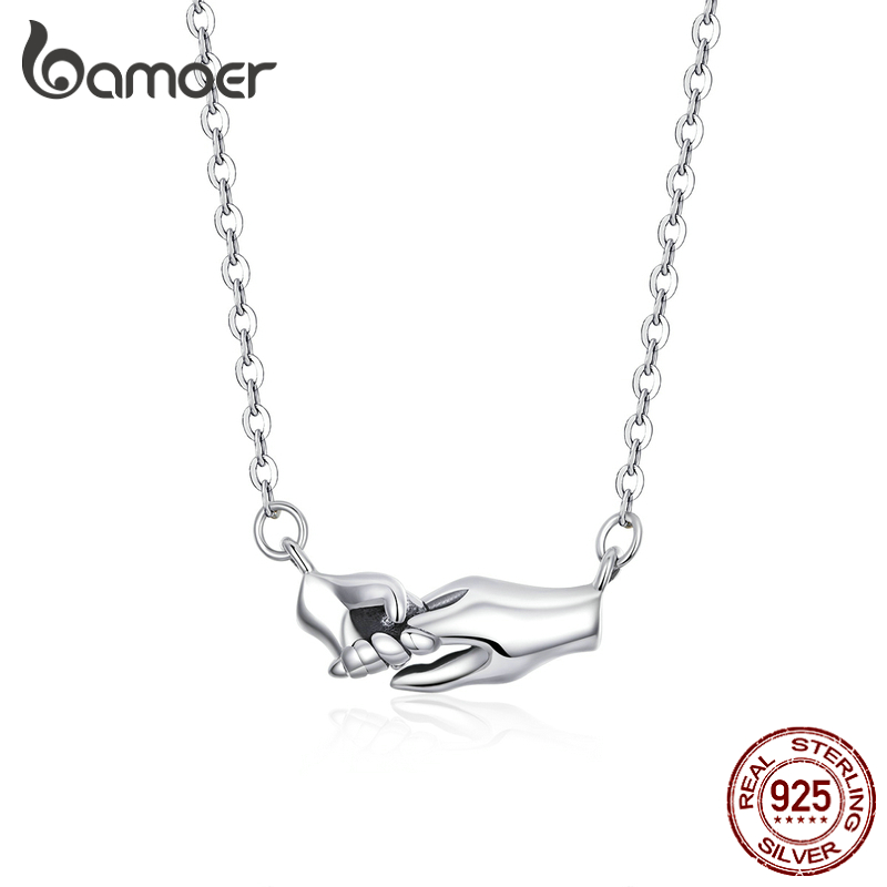 Bamoer Hand By Hand Necklace For Women 925 Sterling Silver Guard Mom Original Design Fashion Jewelry Mother's Day Gift SCN398