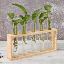 Transparent Glass Vase Terrarium-Table Desktop-Decoration Wood-Frame Table-Ornaments