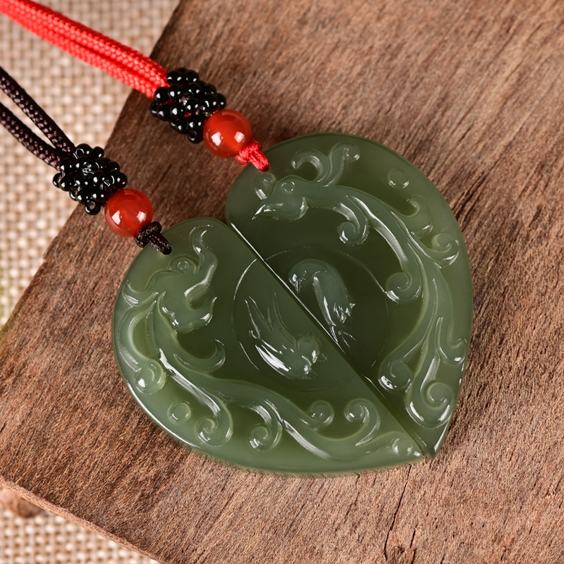 Chinese Hetian White jade hand-carved Dragon Phoenix amulet pendant necklace
