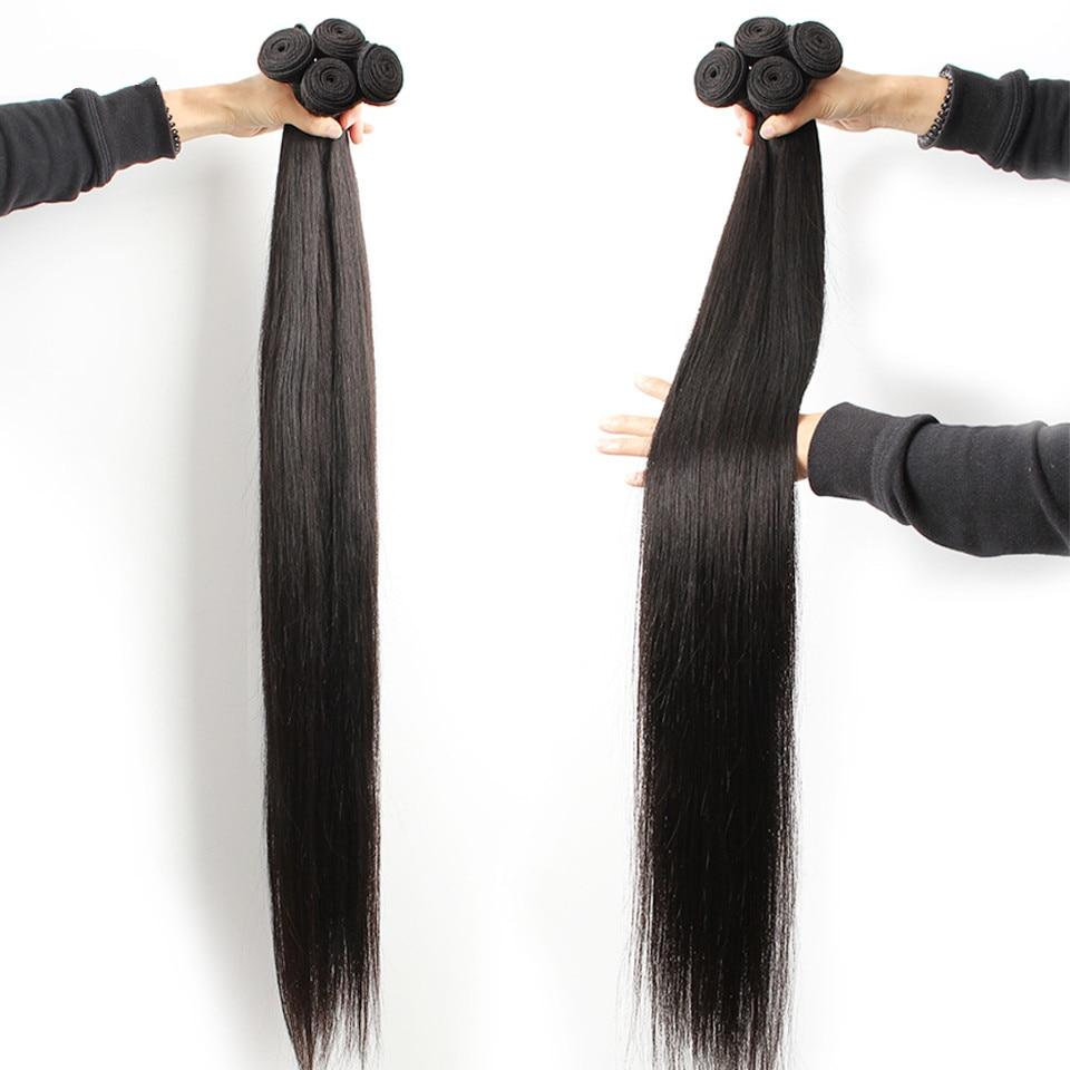 Fashow 30 32 34 36 40 pulgadas mechones de cabello lacio peruano cabello humano Natural 1 3 4 mechones extensiones de cabello Remy de doble trama