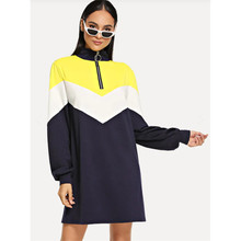 Women High Collar Sweatshirts 3 Colorblock Pullover Dresses For Women Long Sleeve Tops Long Women Clothing Female Clothes  C435 все цены