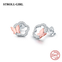 Strollgirl New 925 Sterling Silver Cute flower Animal butterfly with CZ Stud Earrings for Women 2019 Party Fashion Jewelry Gifts