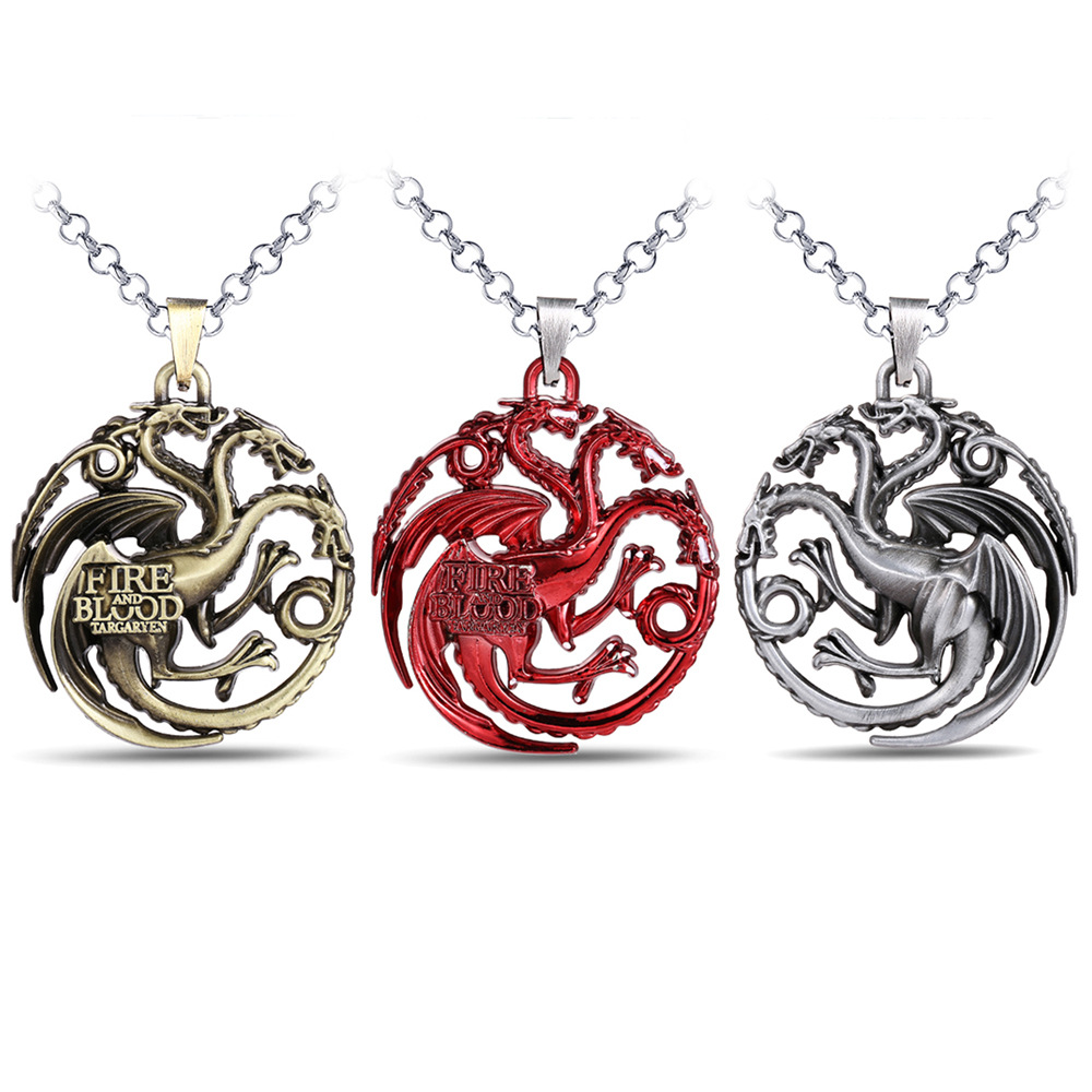 Game Of Thrones Of Game A Song Of Ice And Fire House Targaryen A Dragon With Three Heads All Stereo Logo Pendant Necklace