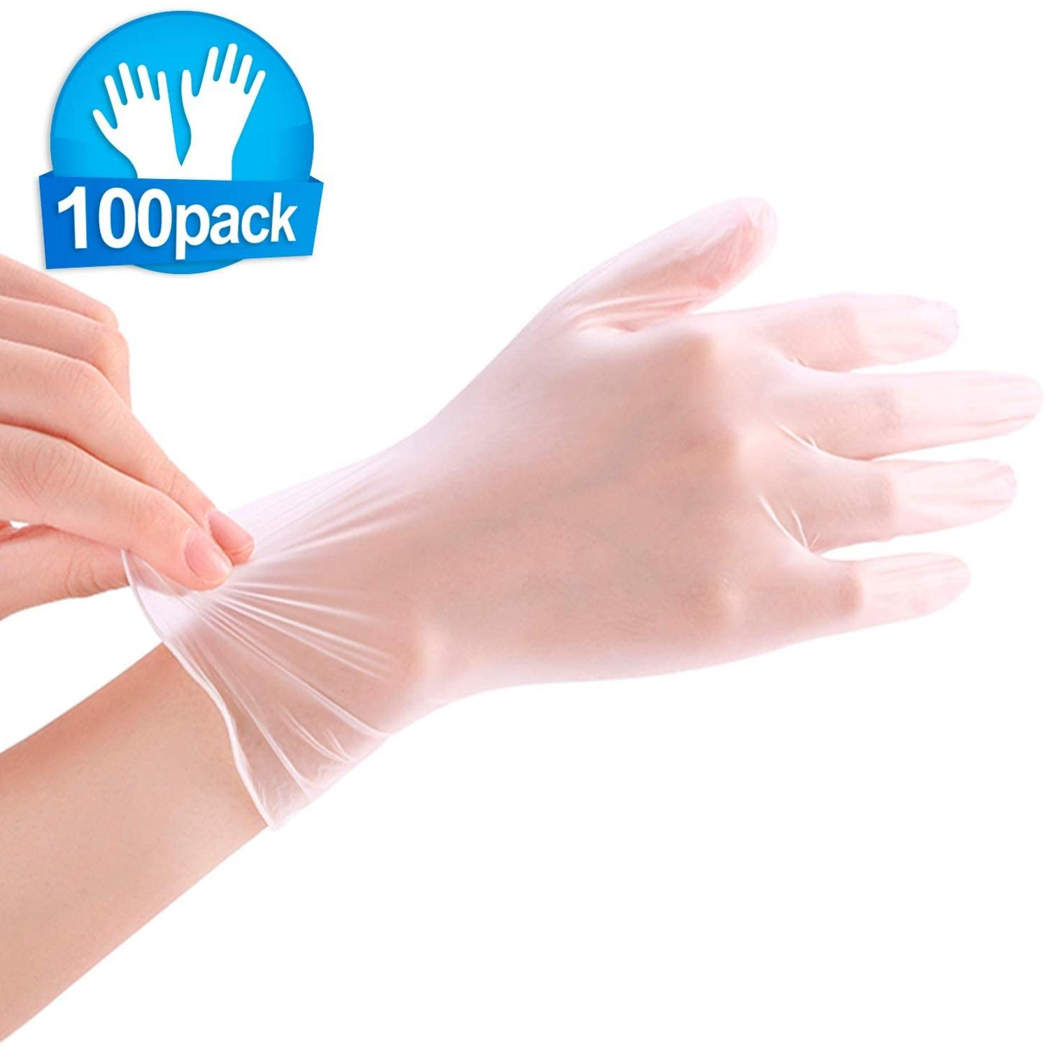 Disposable Transparent Gloves 100pcs Household Cleaning Washing Gloves PVC Laboratory Nail Art Medical Tattoo Anti-Static Gloves