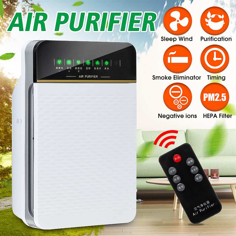 Air Purifier Air Cleaner With 3 Layer Hepa Filter Home Ozone Ionizer Sterilization Odor Dust Bacteria Smoke Pm2.5 Eliminator