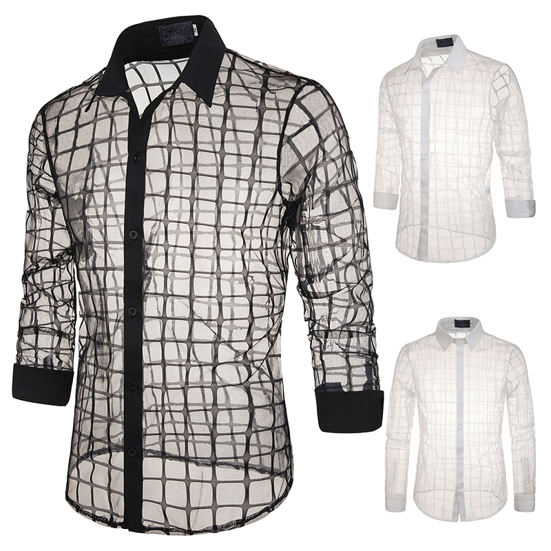Jazz Costumes Male Personality Transparent Mesh Yarn Shirt Tide Men's Casual Plaid Top Stage Singer Performance Clothing DN5063