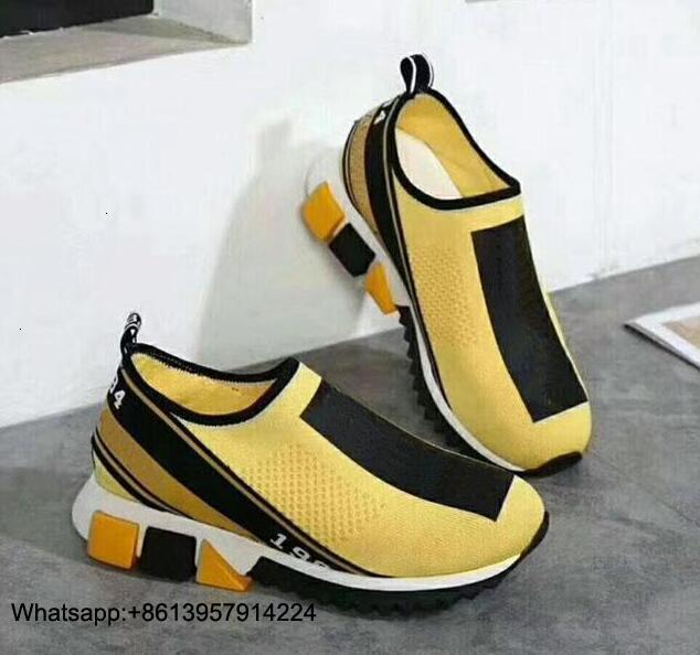 Top qualité plus récent concepteur femmes baskets hommes chaussette chaussures décontractées jaune femmes chaussures bleu hommes chaussures 35 46 avec boîte - 3