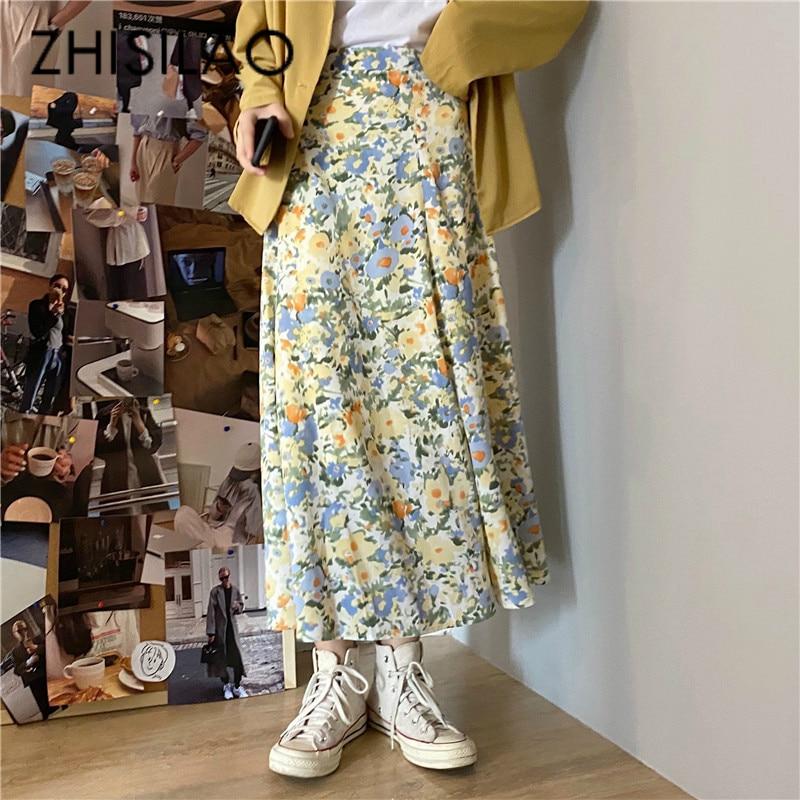 A-line Skirt Women Floral Long Skirt Plus Size Vintage Elegant Boho High Waist Skirt Summer 2020 Beach Wear Holiday Saia Longa