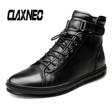 Buy CLAXNEO Man Leather Shoes Fashion Casual Boots Autumn Male Motorcycle Boot Genuine Leather Mens Winter Boot Plush Fur Warm directly from merchant!
