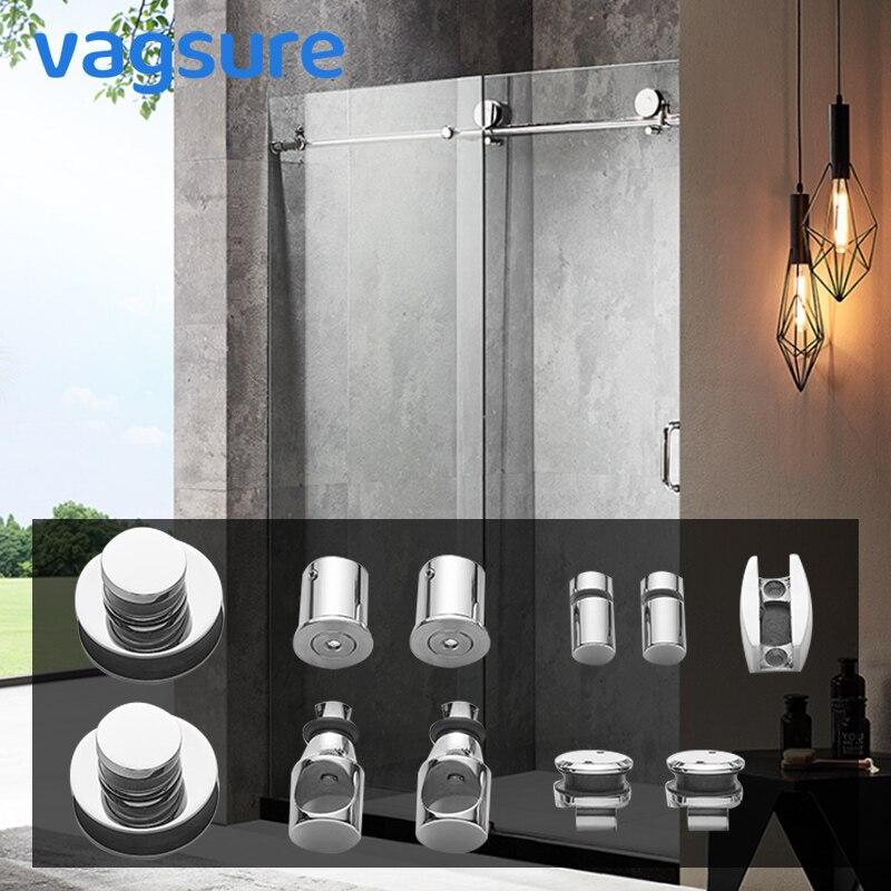 1 ensemble de matériel de rouleau de porte de douche de Tube rond/carré d'acier inoxydable argenté pour la pièce coulissante de cabine de douche de porte en verre
