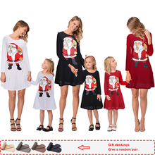 2019 New Autumn Print christmas pajamas family Dresses Full mom and daughter dress Cartoon kids dresses for girls pjs