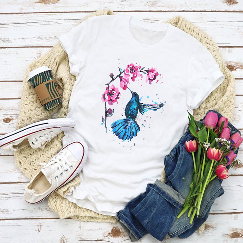 Women Graphic Cartoon Bird Painting Flower Fashion Summer Shirt Tops Lady Clothes T-Shirt Womens Clothing Tee Female T Shirt