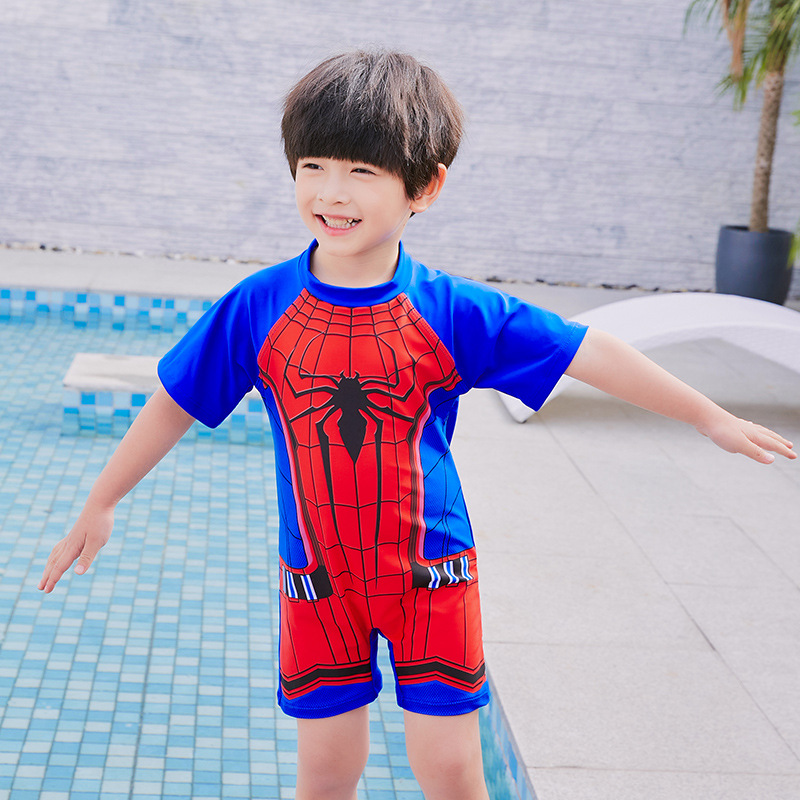 New BOY'S Swimsuit Cartoon Spider-Man Sun-resistant Quick-Dry Middle And Large Baby Boy Cute Hot Springs One-piece Swimsuit For